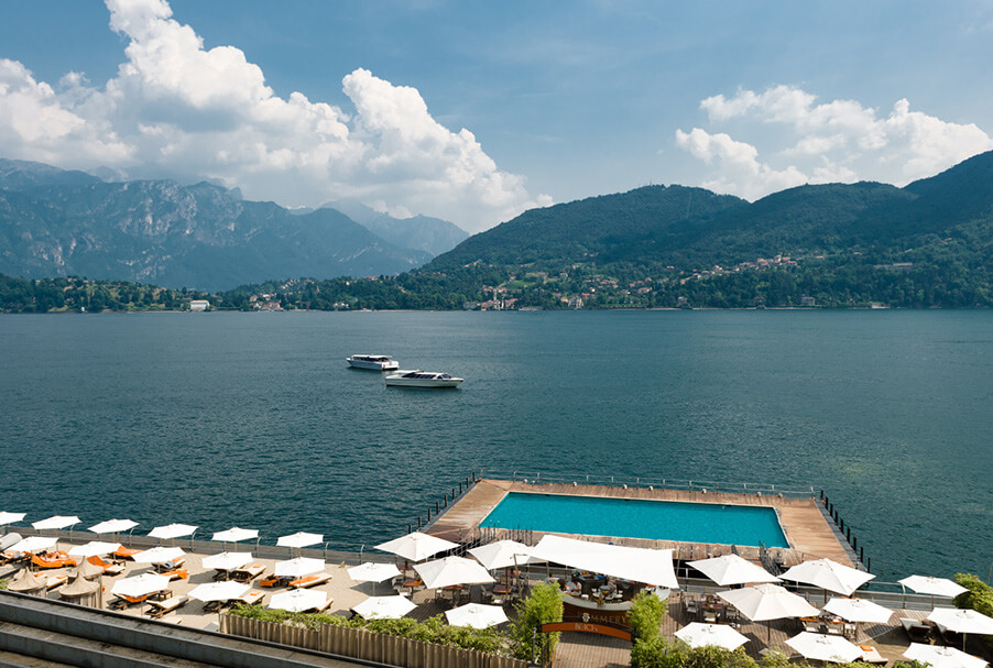 Grand-Hotel-Tremezzo-beach-pool-relax-area-my-lake-como-wedding-venue