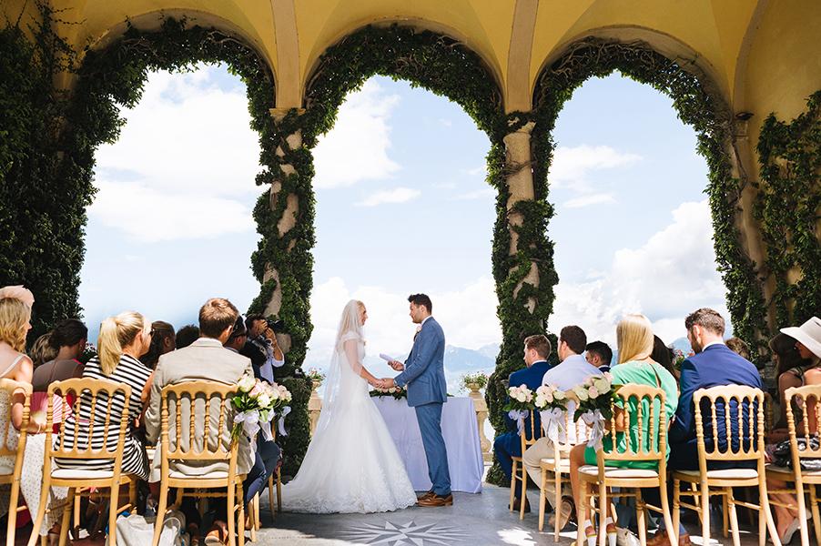 Bride-and-groom-at-the-wedding-ceremony-terrace-at-Villa-Balbianello-Lake-Como