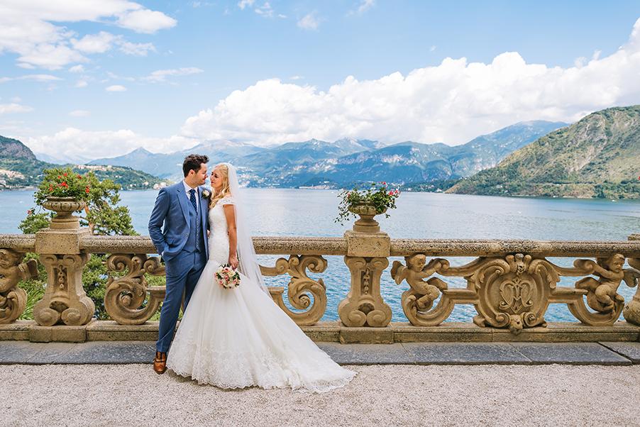 Bride-groom-photo-in-front-of-Lake-Como-at-Villa-Balbianello