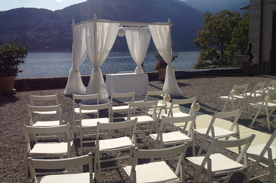 Villa-Carlotta-wedding-ceremony-set-up-with-chuppah-in-front-of-Lake-Como