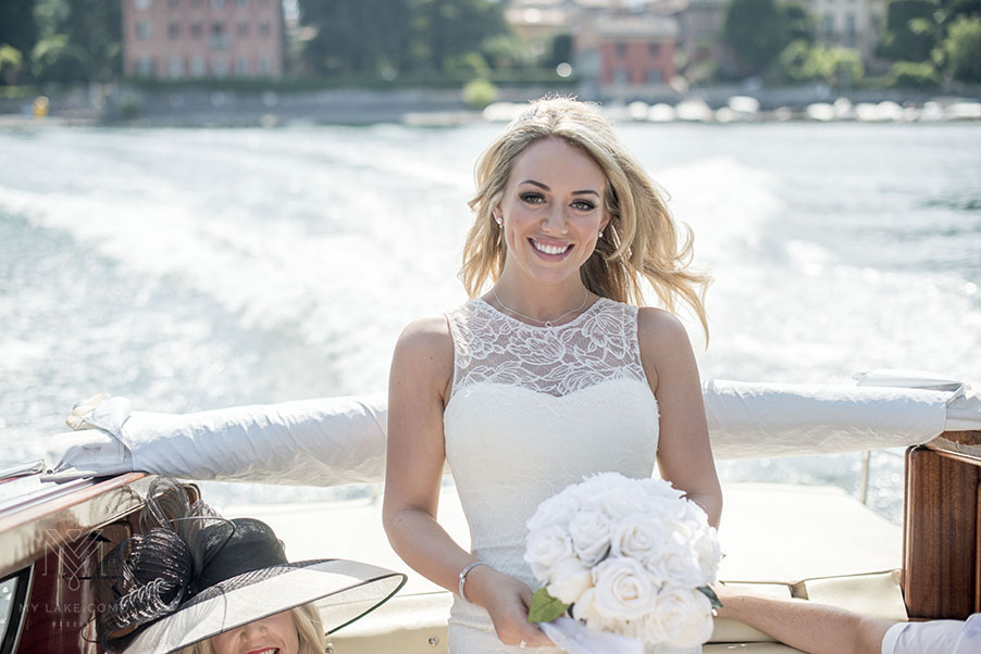 Lake-Como-bride-on-speed-boat-on-Lake-Como