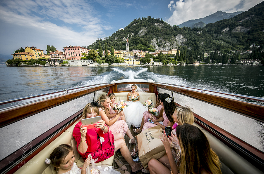 Bridal-party-in-speed-boat-on-their-way-to-ceremony-on-Lake-Como