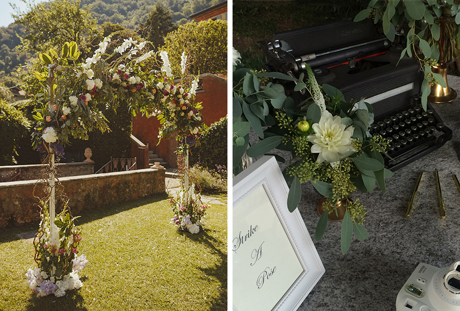 double-image-showing-a-wedding-flower-arch-and-vintage-prop-table-display-by-my-lake-como-wedding