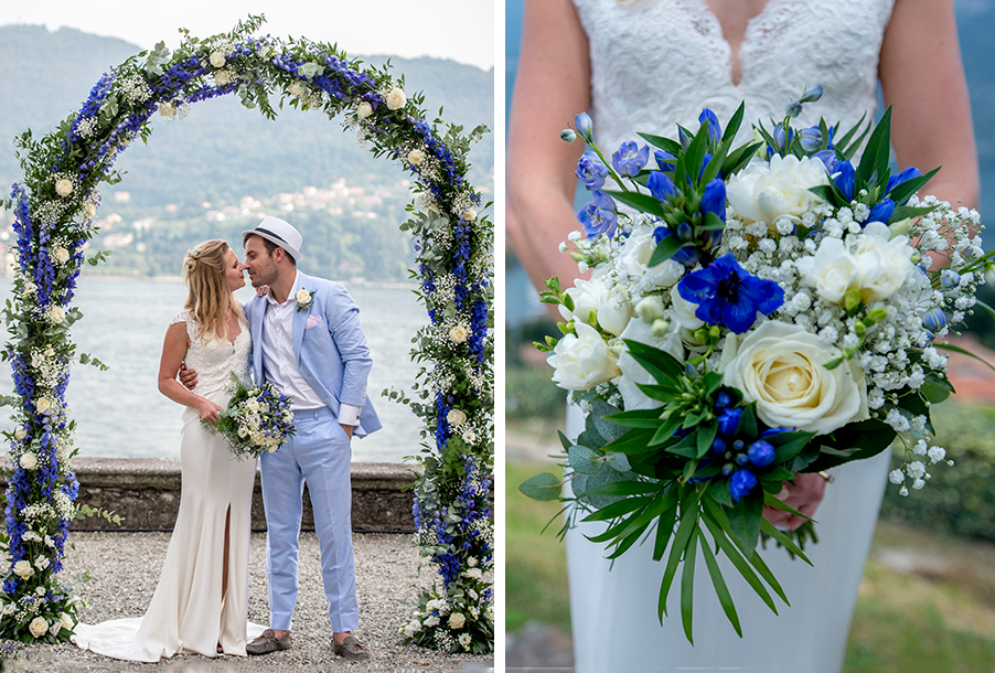 double-image-showing-blue-bride-bouquet-and-ceremony-flower-arch-by-my-lake-como-wedding