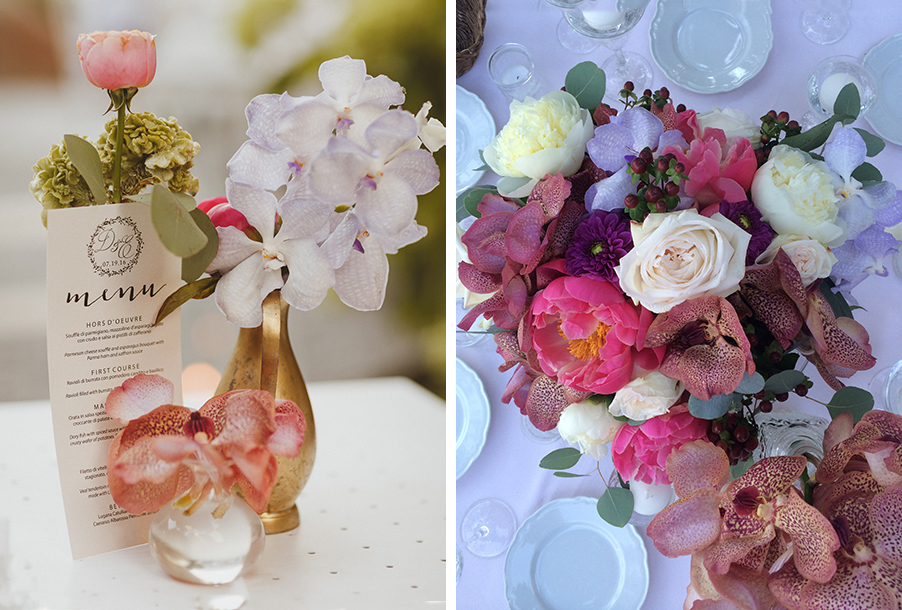 double-image-showing-wedding-flower-design-for-tables-by-my-lake-como-wedding