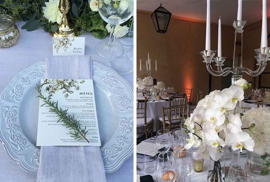 double-image-showing-wedding-table-place-setting-and-candelabra-flower-display-by-my-lake-como-wedding
