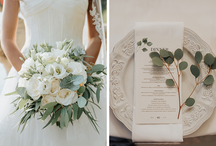 double-image-showing-white-bay-leaf-wedding-bouquet-and-menu-display-by-my-lake-como-wedding