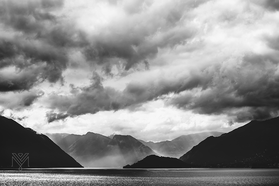 Lake-Como-moody-sky-showing-Villa-Balbianello-wedding-venue