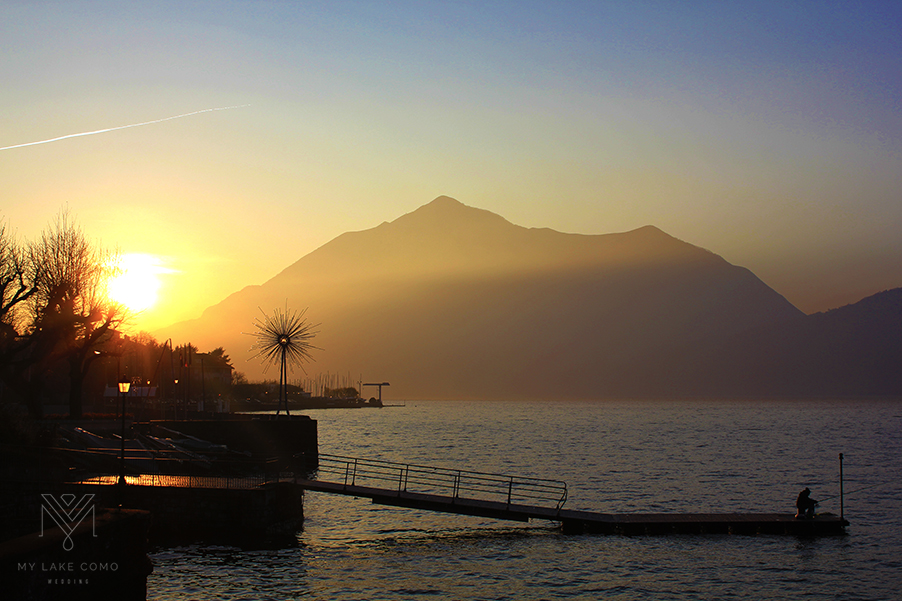Lake-Como-sunset-ove- the-mountains-from-Bellano-town