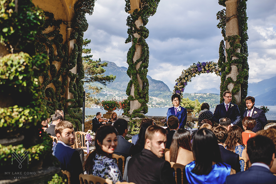 Villa-Balbianello-Lake-Como-wedding-ceremony-terrace-with-groom-waiting-for-bride