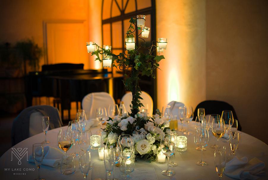 Villa balbianello white rose dining table flower