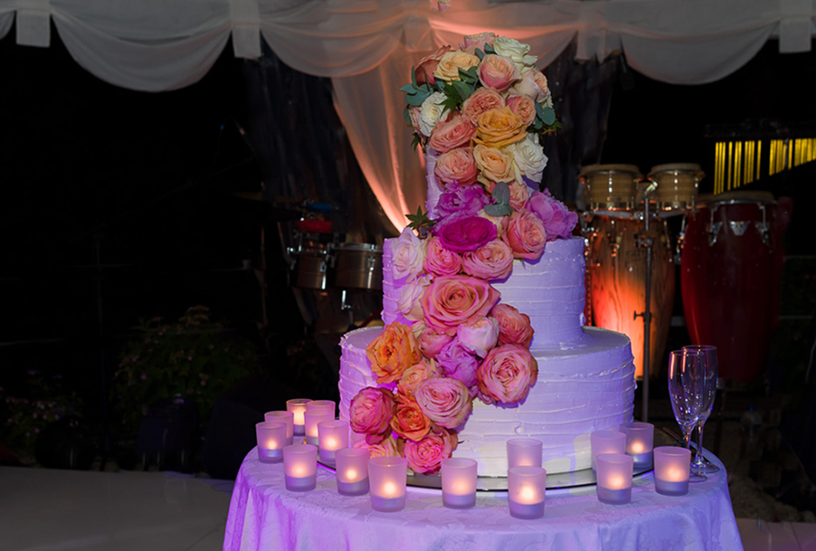 Wedding Cake With Flower Rose Decoration In Italy By My Lake Como