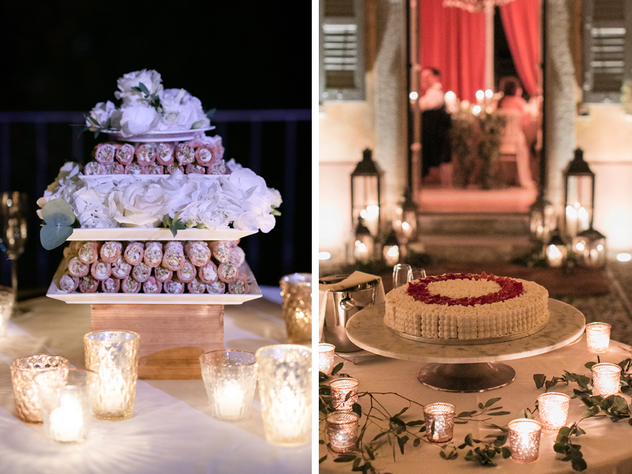 Two-images-of-a-wedding-cake-on-Lake-Como-with-tealights-and-flowers-by-My-Lake-Como-Wedding