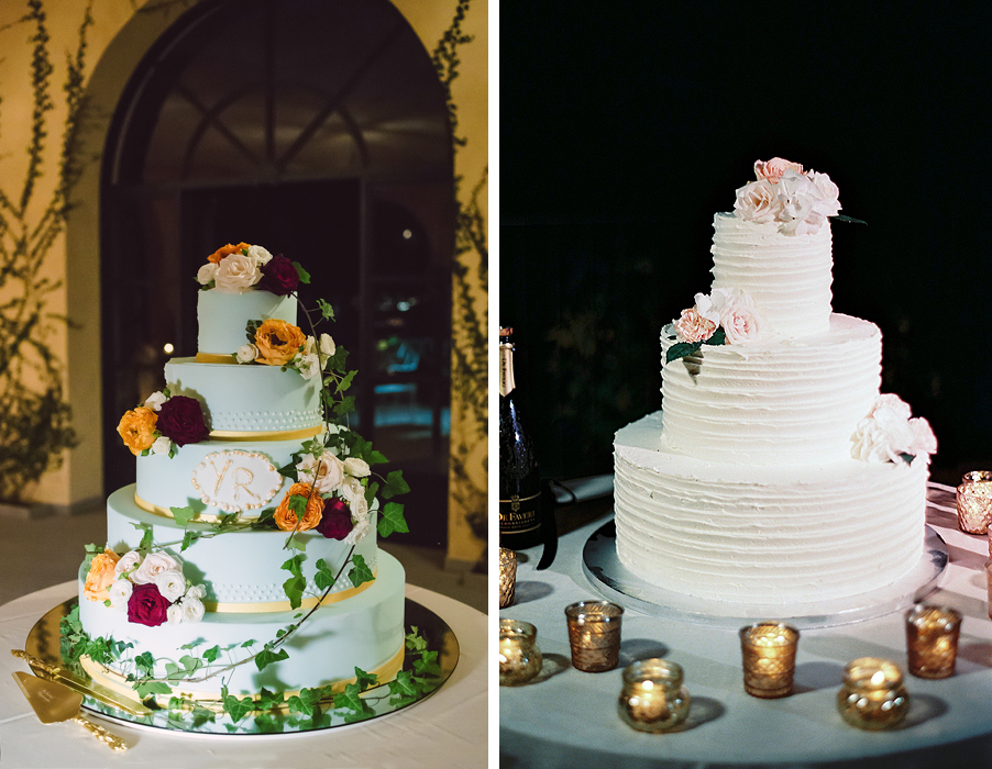 Two-images-of-wedding-cakes-at-Lake-Como-wedding-villa-with-flowers-and-candles