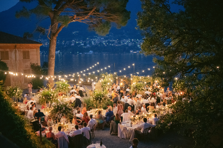 Romantic-festoon-lighting-over-dining-terrace-at-Lake-Como-villa