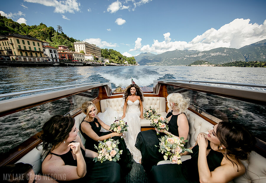 bride and bridesmaid on venetian speed boat on