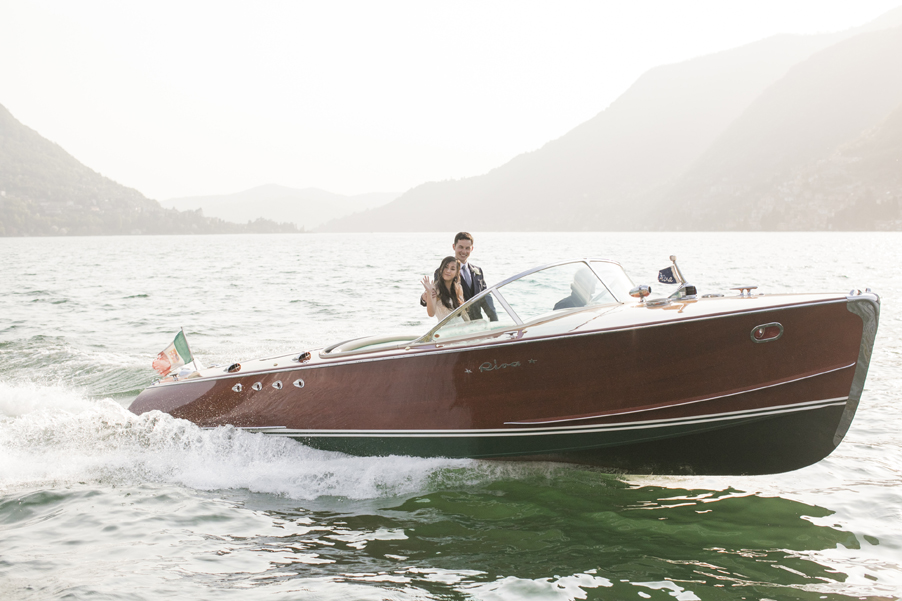 Bride-and-groom-Riva-speed-boat-Lake-Como-wedding-planner-My-Lake-Como-Wedding