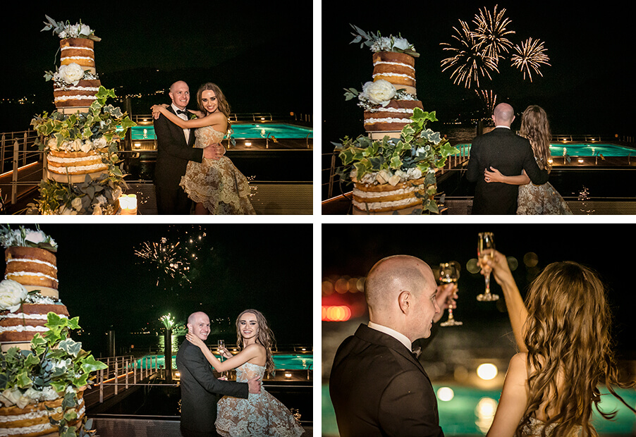 bride-and-groom-with-wedding-cake-champagne-fireworks-at-grand-hotel-tremezzo-wedding-planner-my-lake-como-wedding