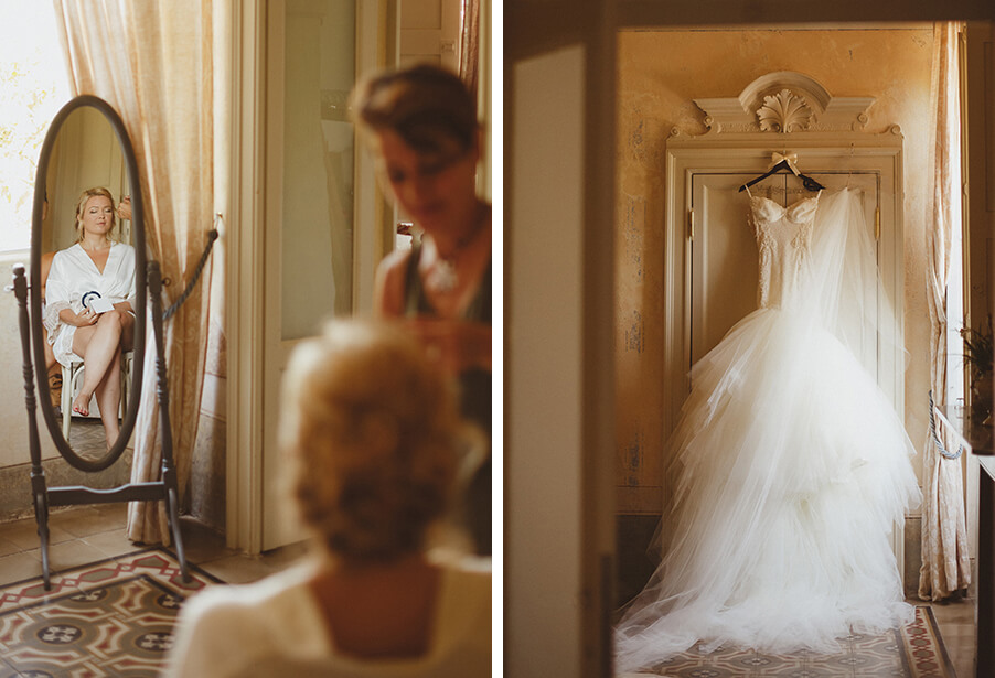 Lake-Como-wedding-bride-getting-ready-with-make-up-artist-and-wedding-dress-in-Italian-villa