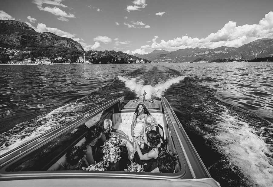 Bride-in-brdial-boat-on-her-Lake-Como-wedding-day-arranged-by-My-Lake-Como-Wedding