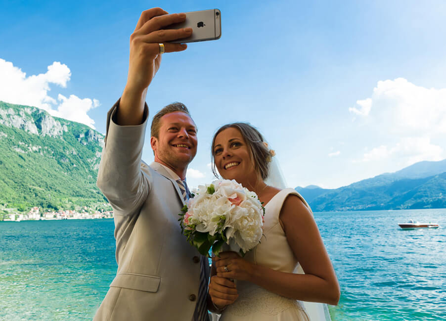 Selfie-on-your-weddng-day-on-Lake-Como-beautiful-weddings-and-memories-in-varenna