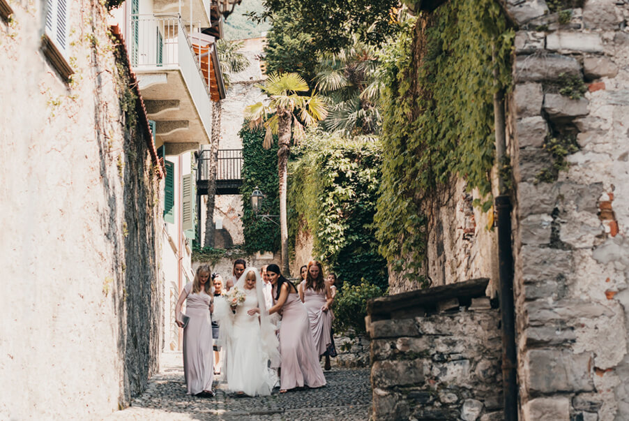 Bride-walking-through-the-Italian-streets-of-Varenna-wedding-planner-My-Lake-Como-Wedding