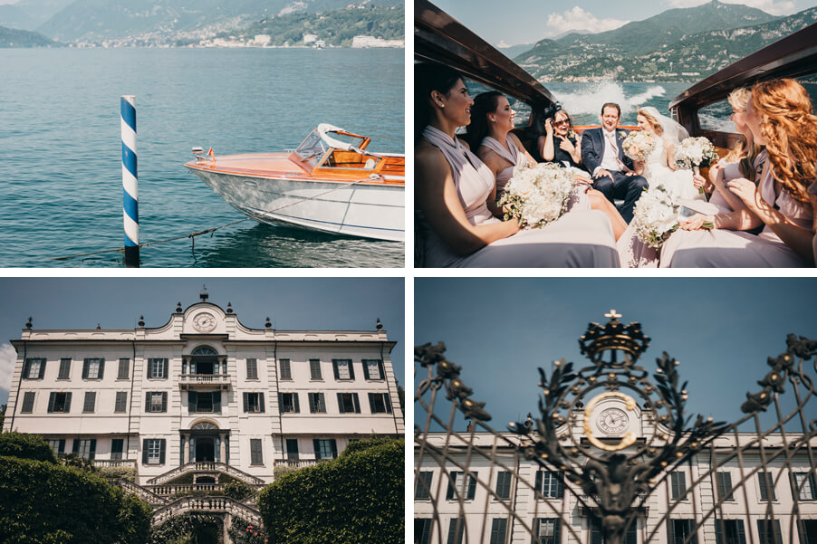 Four-images-showing-a-wedding-taking-place-on-Lake-Como-by-My-Lake-Como-Wedding