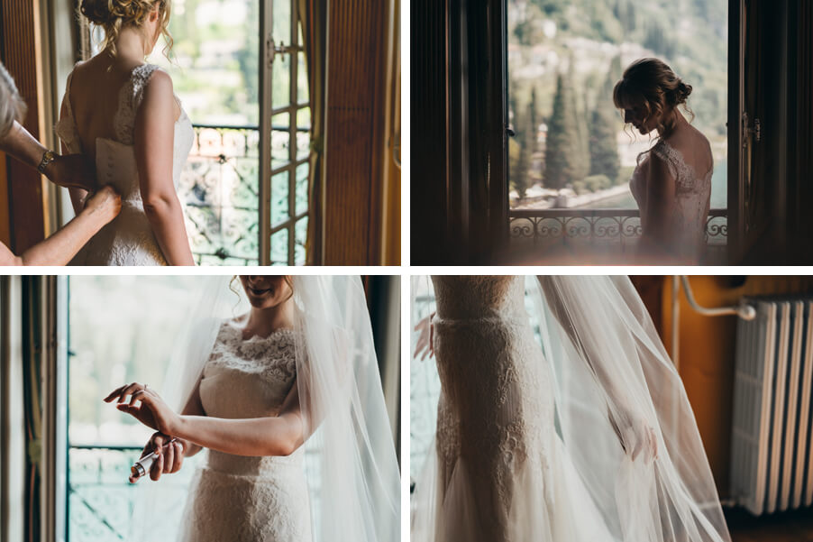 Four-images-showing-bride-getting-ready-at-villa-Cipressi-on-Lake-Como