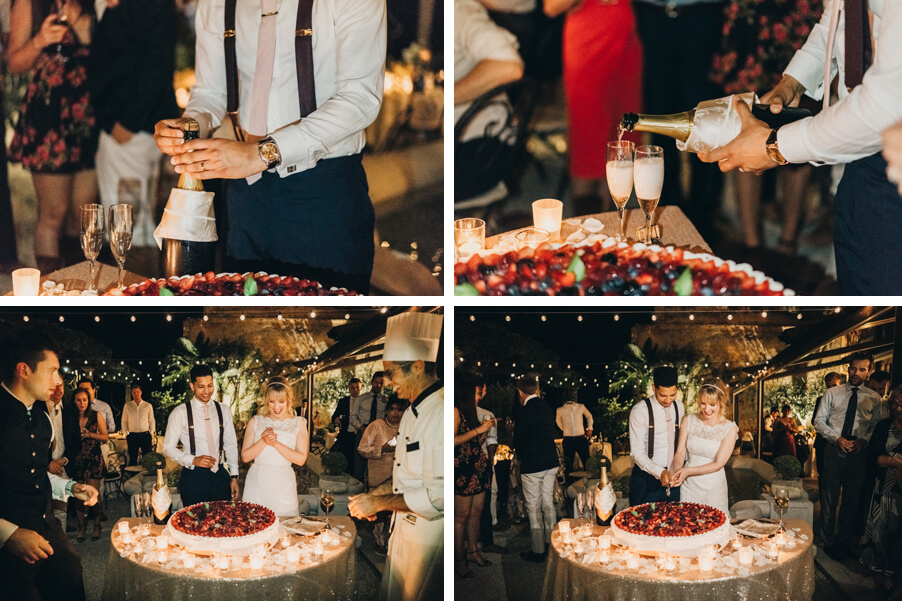 Four-images-showing-champagne-and-wedding-cake-at-Villa-Cipressi-organised-by-My-Lake-Como-Wedding