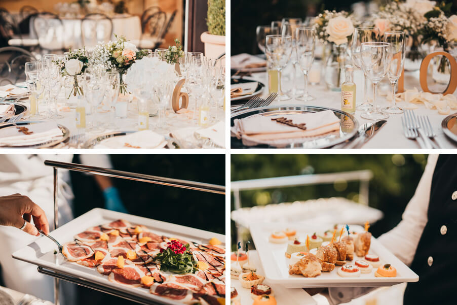 four-images-showing-dining-tables-and-aperitivo-food-at-Villa-Cipressi-organised-by-My-Lake-Como-Wedding