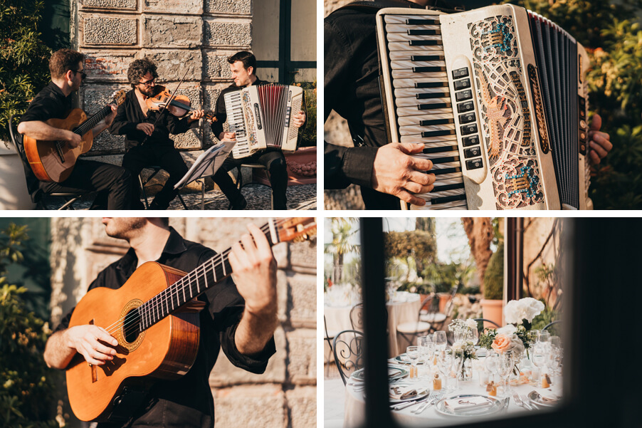 four-images-showing-musicians-playing-at-Villa-Cipressi-organised-by-My-Lake-Como-Wedding