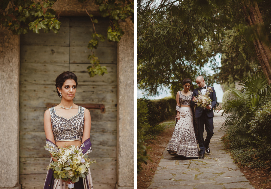 Bride-and-groom-in-the-grounds-of-Villa-Pizzo-on-Lake-Como-Indian-wedding
