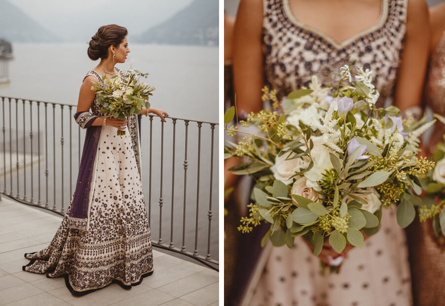 Indian-bride-with-traditional-wedding-dress-and-flowers-on-Lake-Como