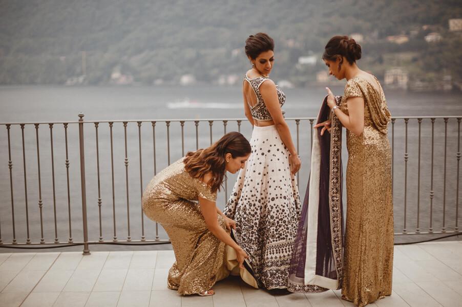 Indian-wedding-dress-with-bride-and-bridesmaids-on-Lake-Como