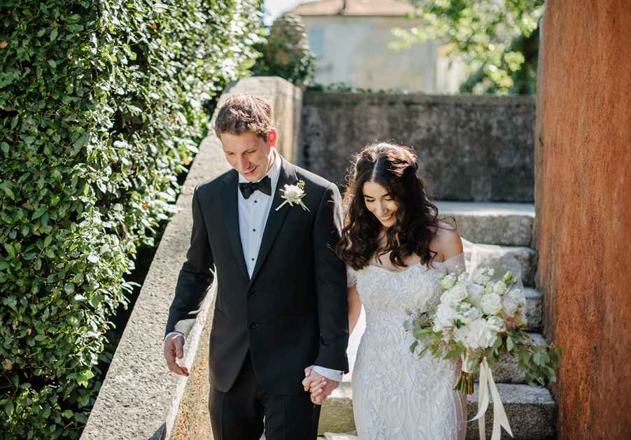 Bride-and-groom-walking-to-boat-service-arranged-by-My-Lake-Como-Wedding