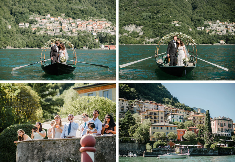 Four-images-showing-weddings-on-Lake-Como-with-Lucia-bridal-boat