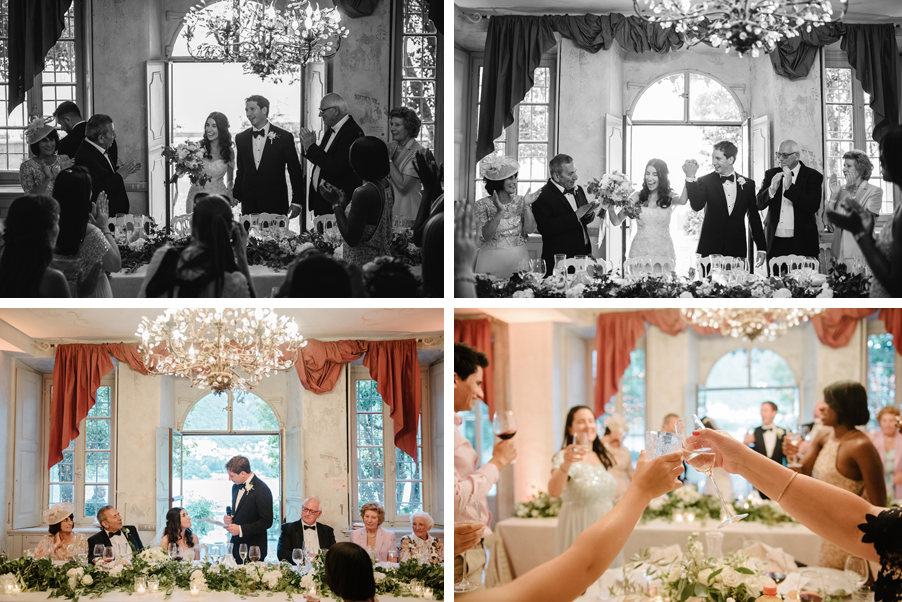 Multiple-images-showing-bride-and-groom-in-their-recpetion-dining-room-on-Lake-Como
