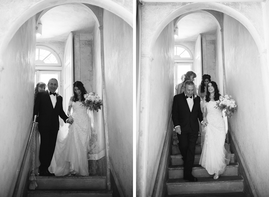 Two-images-showing-the-bride-walking-to-here-ceremony-in-an-Italian-villa-staircase-wedding-by-My-Lake-Como-Wedding