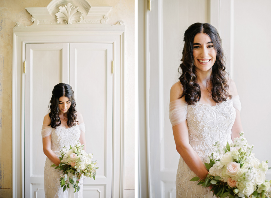 Two-images-showing-the-bride-with-her-bouquet-on-her-wedding-day-at-Villa-Teodolinda