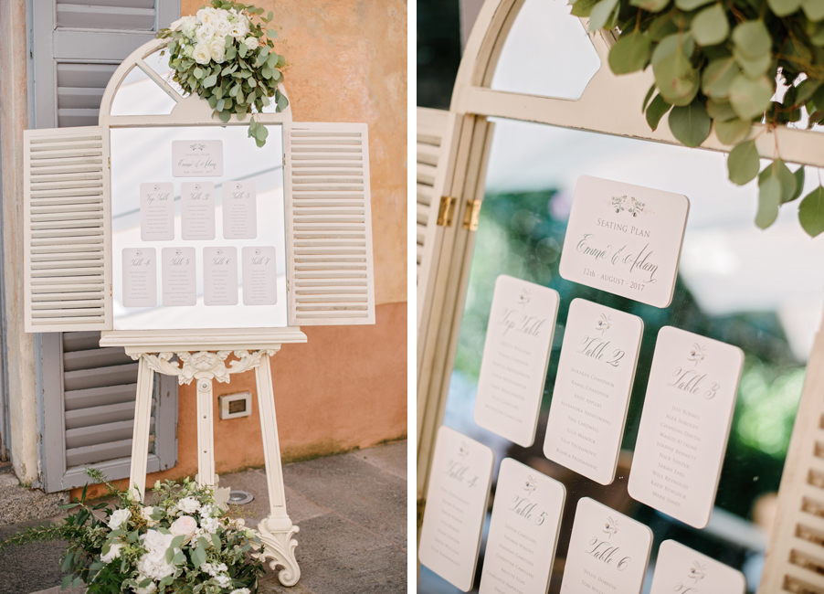 Wedding-details-showing-table-plan-and-easil-in-antique-white-at-Italy-villa-by-wedding-planner-My-Lake-Como-Wedding