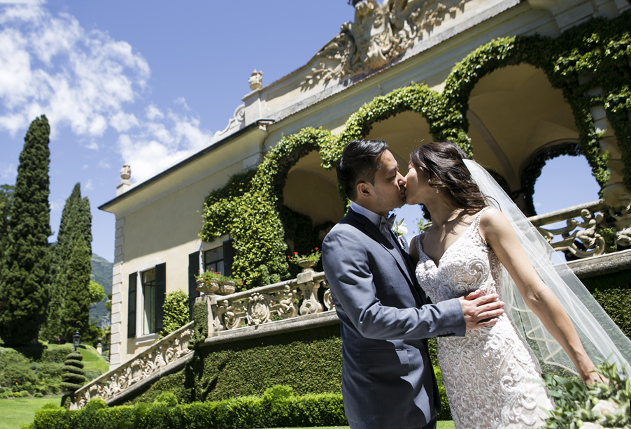 Bride-and-groom-pose-at-Villa-Balbianello-wedding-planner-My-Lake-Como-Wedding