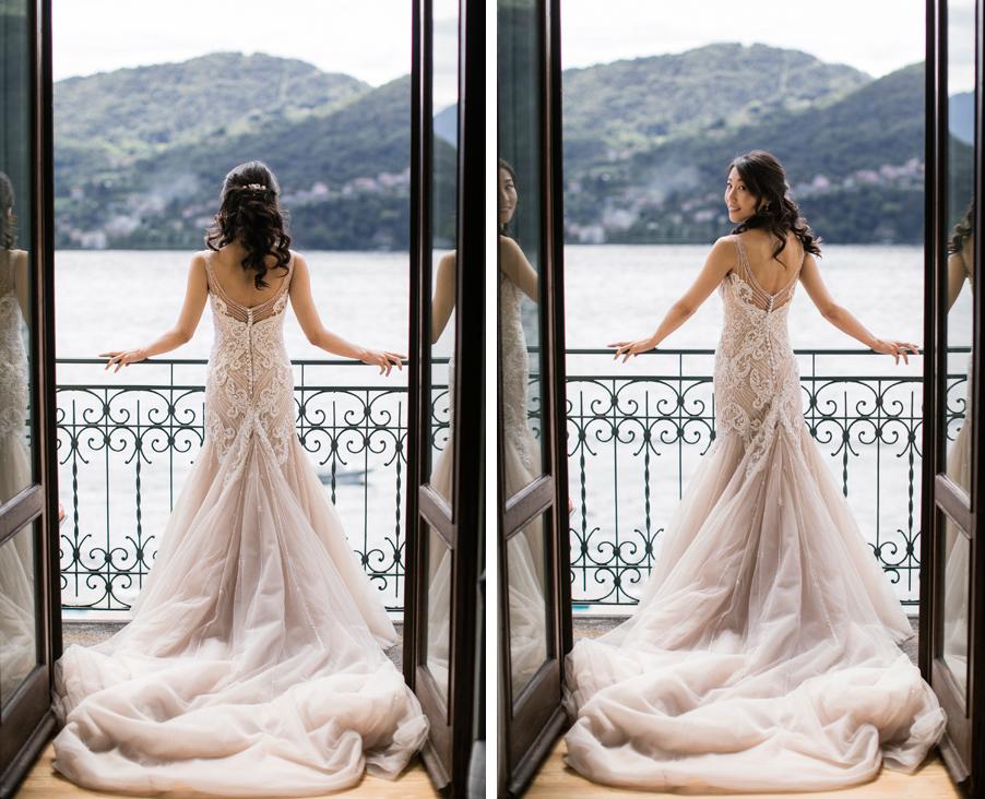 Bride-in-window-of-villa-on-Lake-Como-wedding-photoshoot