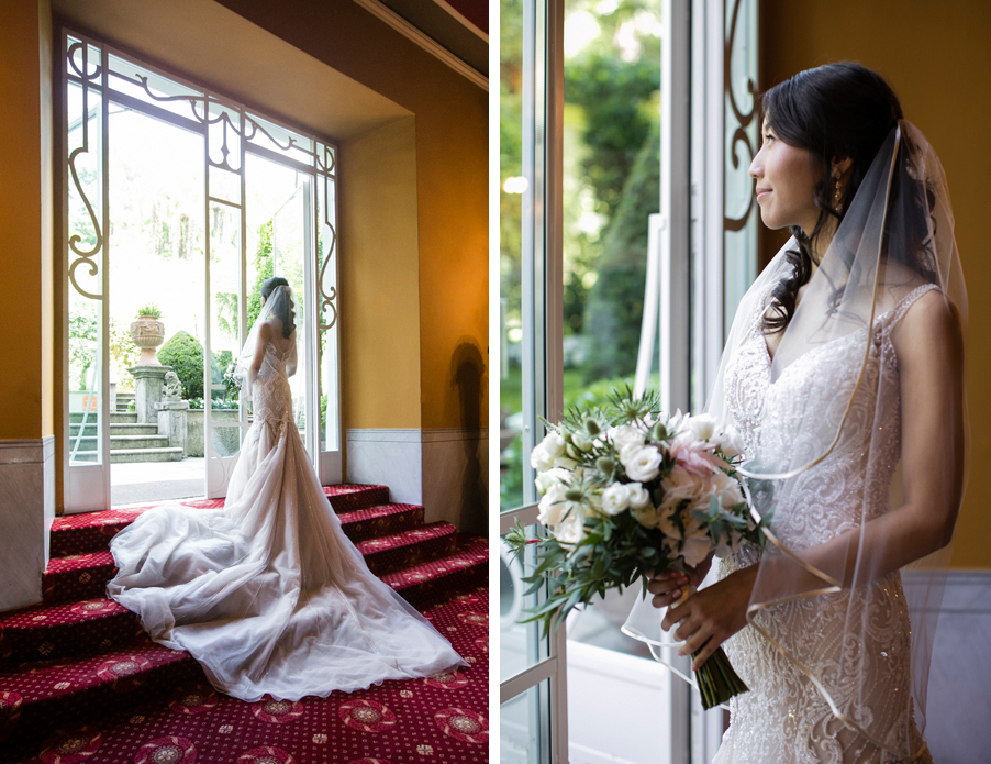 Bride-on-photoshoot-on-Lake-Como-with-bouquet-at-Italian-villa