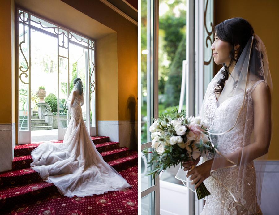 Bride-on-photoshoot-on-Lake-Como-with-bouquet-at-Italian-villa