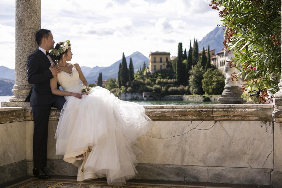 Bride-and-groom-at-their-Italian-villa-looking-at-Villa-Cipressi-arranged-by-wedding-planner-My-Lake-Como-Wedding