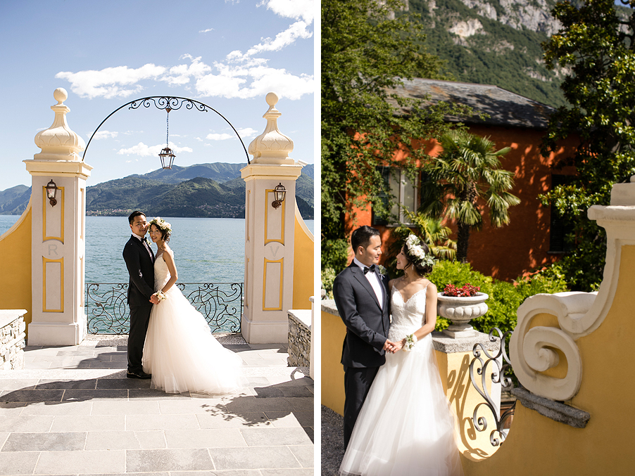 Bride-and-groom-photoshoot-on-Lake-Como-at-Royal-Victoria-Hotel-in-Varenna