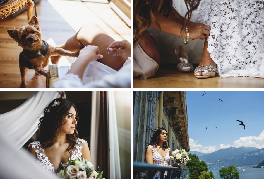 Four-images-showing-bride-on-Lake-Como-at-hotel-getting-ready-for-wedding