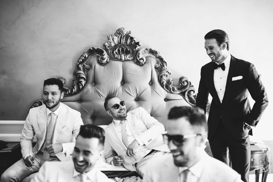 Black-and-white-image-of-Bride-and-Groosmen-getting-ready-for-Lake-Como-wedding