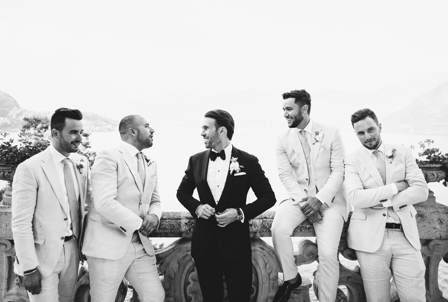 Black-and-white-photo-of-Groomsmen-on-wedding-day-at-Villa-Balbianello
