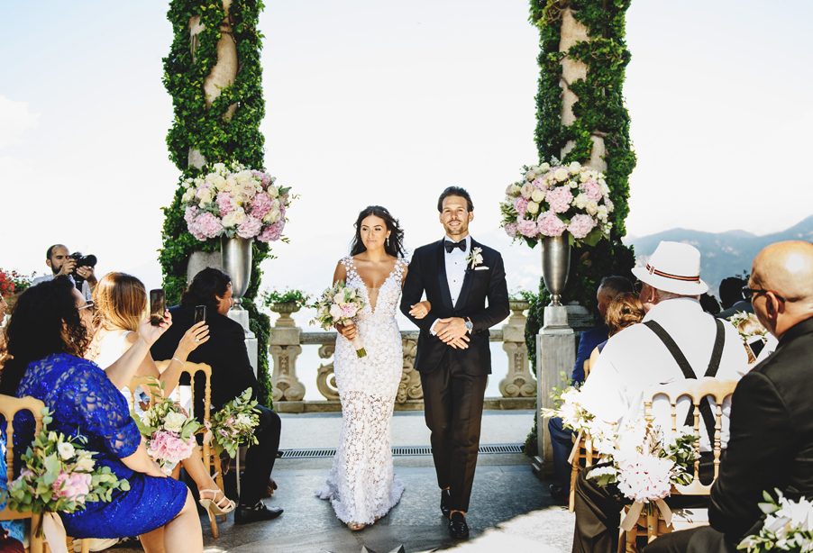 Bride-and-groom-marry-on-Lake-Como-at-Villa-Balbianello-beautiful-flowers-by-My-Lake-Como-Wedding
